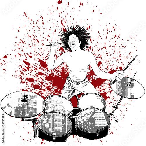 Foto drummer on grunge background