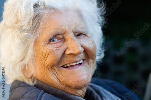 Fotografie, Obraz  Portrait einer Frau, die 96 Jahre alt ist