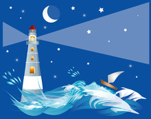 Lighthouse On The Ocean With Boat. Night Landscape