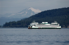 Ferry With Mt. Baker On A Back...