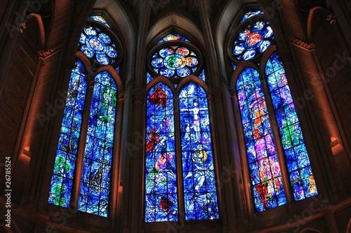 Photo Kirchenfenster von Chagall in der Kathedrale von Reims