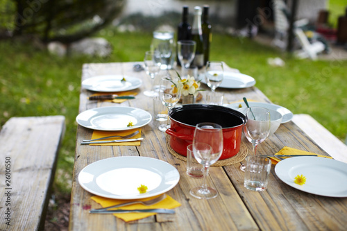 Keuken foto achterwand Picknick Picnic table set for lunch with dandelion flowers and wine.