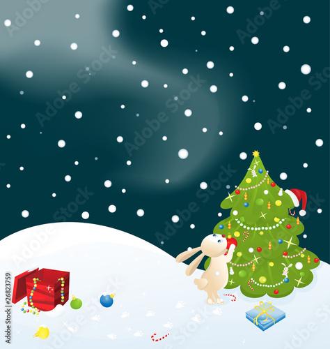 In de dag Regenboog Bunny and Christmas tree