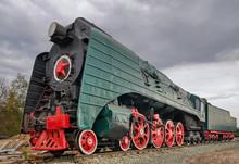 Ancient Steam Locomotive On Wh...