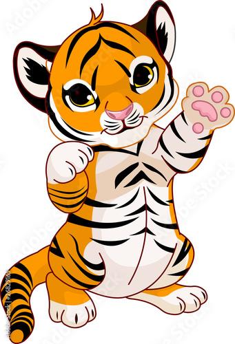 Printed kitchen splashbacks Fairytale World Cute playful tiger cub