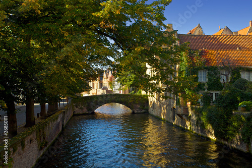 Wall Murals Bridges A beautiful house on a canal in Bruges