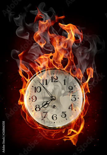 Recess Fitting Flame Burning clock