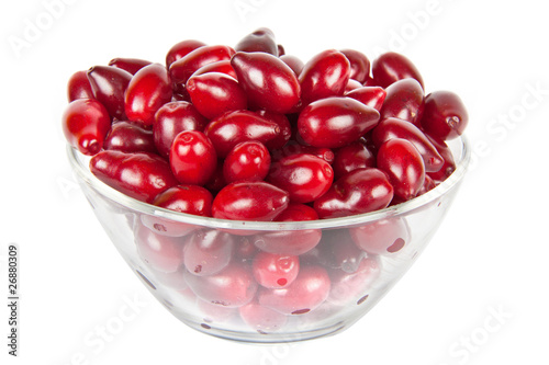 Valokuvatapetti glass bowl with ripe Cornelian cherries