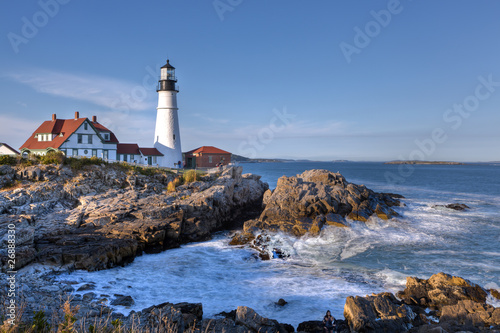 Montage in der Fensternische Leuchtturm Portland head Light - Lighthouse