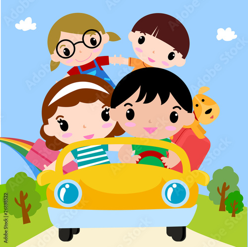 Recess Fitting Cars Happy family in car on vacation