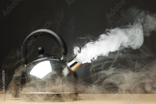 Fotografering  boiling kettle with dense steam