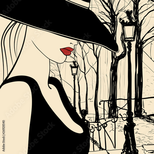 Tuinposter Illustratie Parijs Woman in Paris