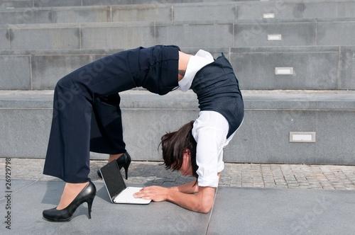 Fotografie, Obraz  Flexible business - woman with laptob