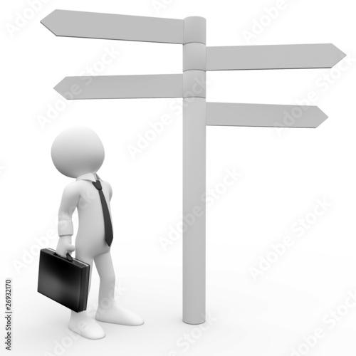 Fotografía  Humano 3d mirando cartel informativo de distancias y direcciones