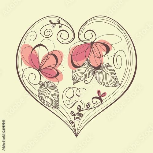 Tuinposter Abstract bloemen Retro floral heart