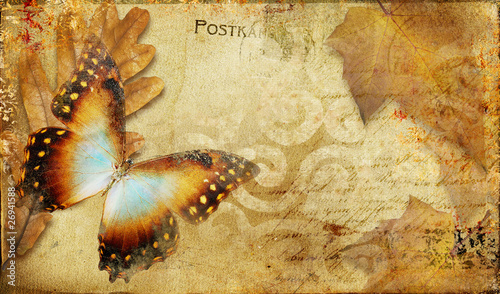 Fotobehang Vlinders in Grunge vintage autumn card with leaves and butterfly