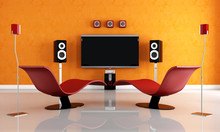 Modern Home Theater With Two F...