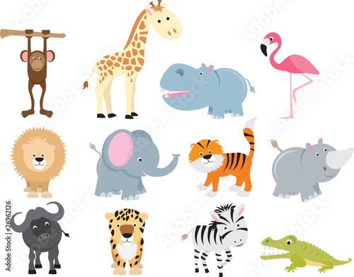 Photo  cute wild safari animal cartoon set