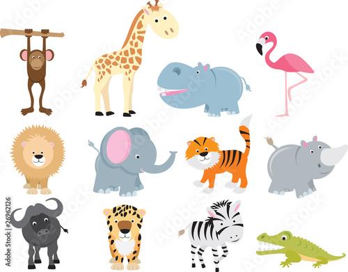 Photo  cute wild safari animal cartoon set