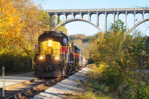 Valokuvatapetti Train approaching below bridge over Ohio's Cuyahoga Valley