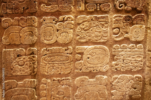 Photo Stands South America Country Mayan hieroglyphs