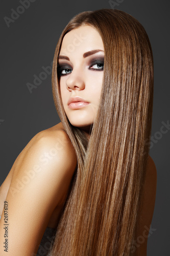 Fotografie, Obraz  Wellness. Portrait of woman model with shiny long brown hair
