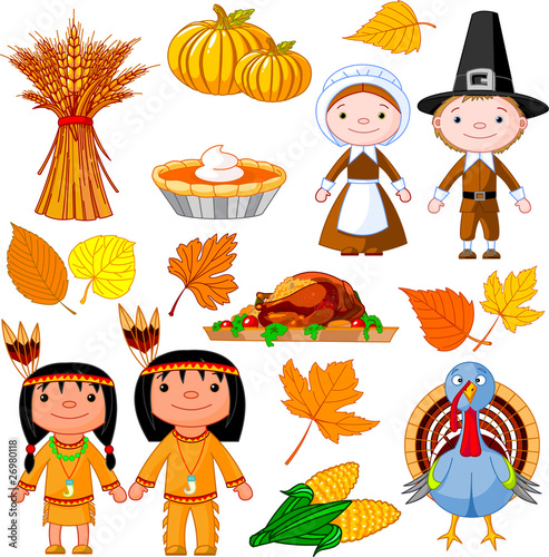 Printed kitchen splashbacks Fairytale World Thanksgiving icon set