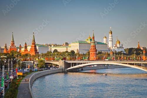 Moscow kremlin at sunset Poster