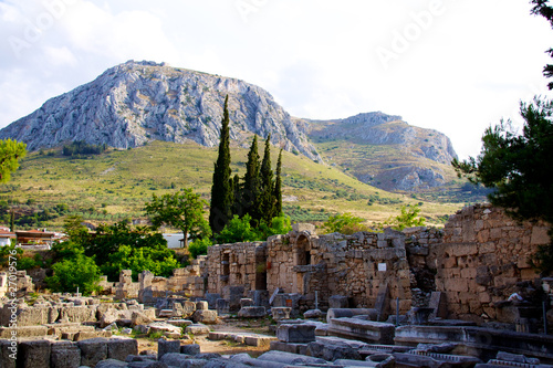 Valokuvatapetti Archaeological Dig Site at  Apollo Temple, Corinth, Greece.