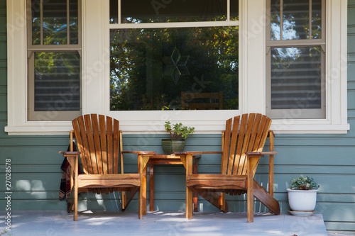 Foto Two adirondack chairs porch