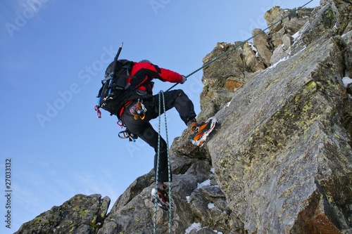 Photo sur Aluminium Alpinisme Abseilen