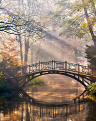 Fototapeta Mosty Old bridge in autumn misty park