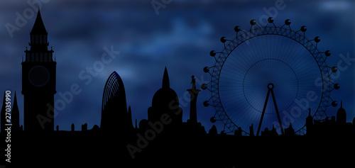skyline of London at night Wallpaper Mural