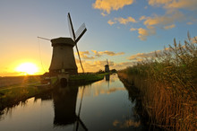 Traditonal Windmill In The Netherlands At Twilight