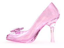 Pink Crystal Glass Female Shoe...