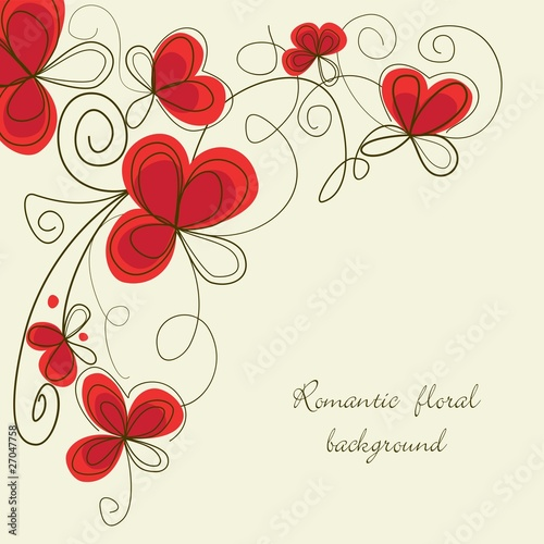 Deurstickers Abstract bloemen Romantic floral corner
