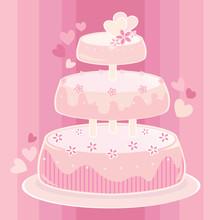 Sweet Pink Wedding Cake