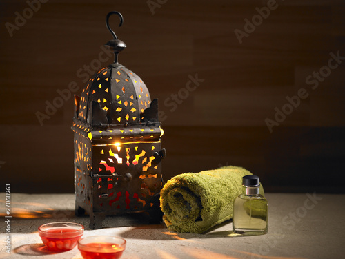 Arab lamp whit a candle in the hammam Canvas Print