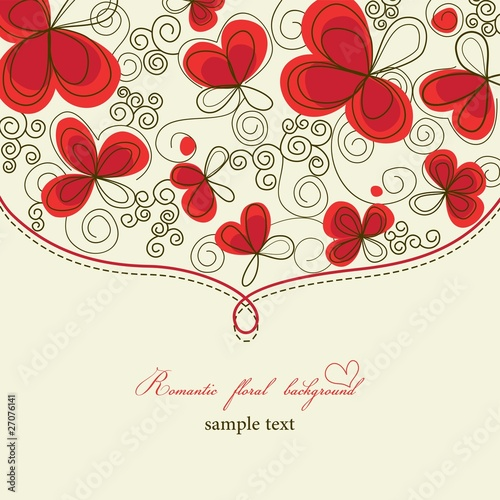 Poster Abstract bloemen Cute romantic floral background