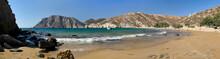 Psili Ammos Sandy Beach Panoramic View, Patmos Island, Greece