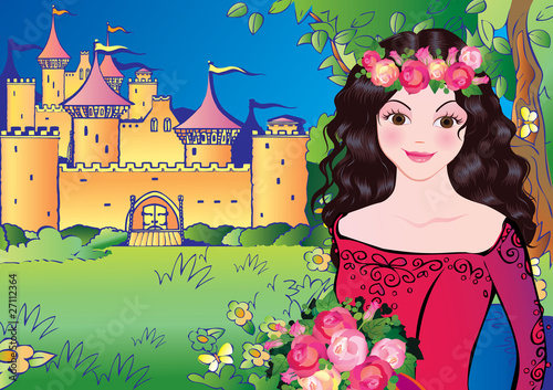 Poster Castle Beautiful princess on landscape background. Fairy-tale.