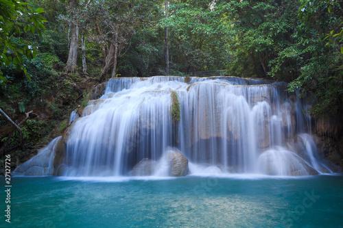 Poster Bleu nuit Erawan Waterfall in Kanchanaburi, Thailand