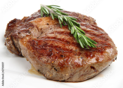Papiers peints Steakhouse Seasoned & Cooked Rib-Eye Steak