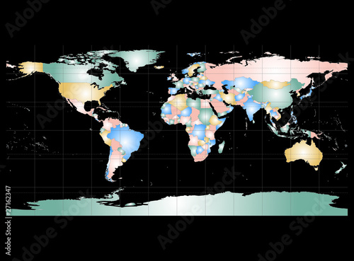 Garden Poster World Map Detailed World Map with Names of Countries, vector isolated by g
