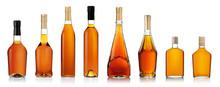 Set Of Brandy Bottles Isolated...