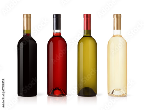 Papiers peints Vin Set of white, rose, and red wine bottles.