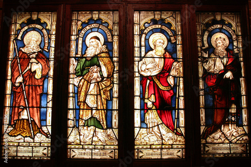Biblical prophets in Perth cathedral - stained glass art Canvas Print