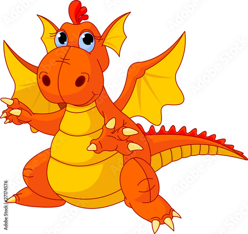 Fotografie, Tablou  Cartoon baby dragon