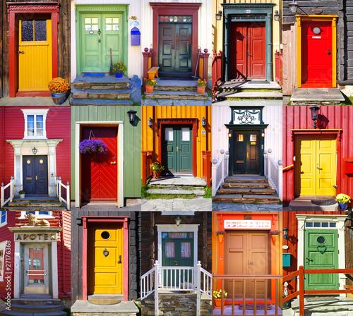 Fotografie, Obraz Collage of doors in Røros. Norway