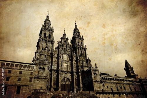 Santiago de Compostela vintage card Slika na platnu